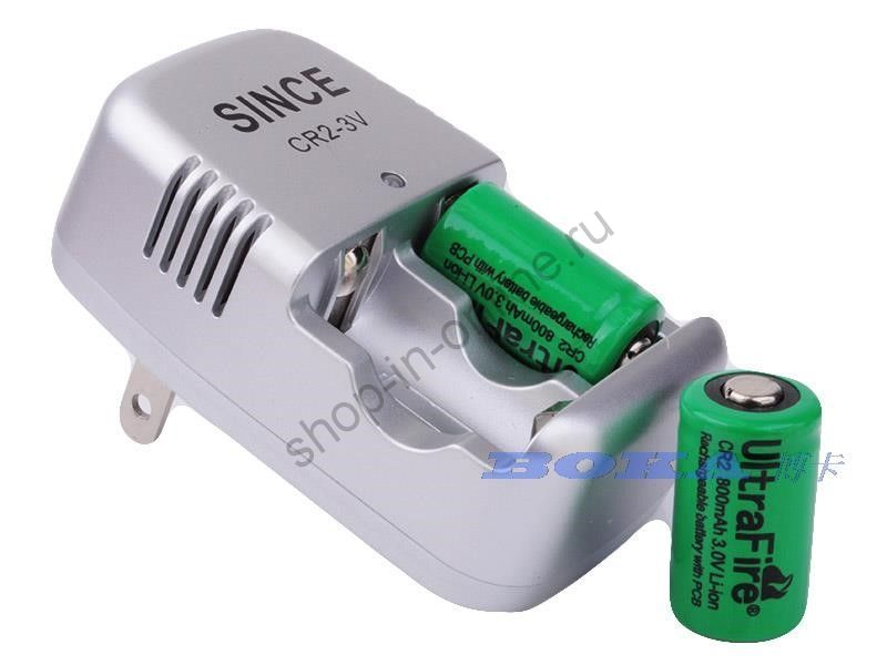 CR2 ULTRAFIRE  аккумуляторы 3.0 V, 800 mAh (2 шт.) + зарядное устройство 15270