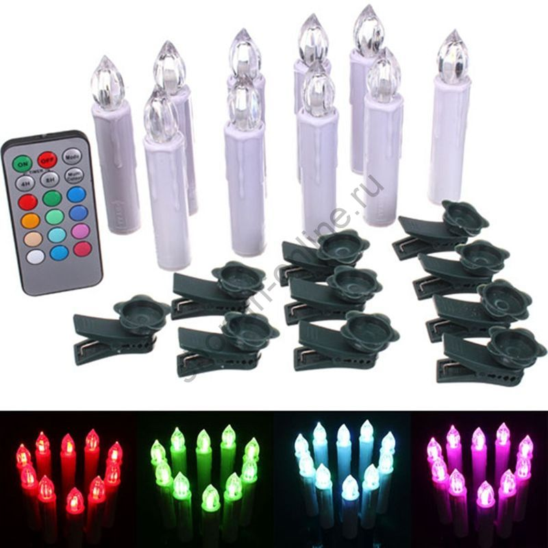 Светодиодные свечи с пультом 10 шт